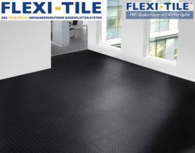 Flexi-Tile Diamond PVC Bodenfliesen - Anwendungsbeispiel in Schwarz