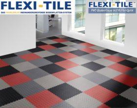 Flexi-Tile Diamond PVC Bodenfliesen - Anwendungsbeispiel mehrere Farben