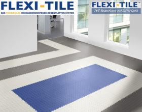 Flexi-Tile Diamond PVC Bodenfliesen - Anwendungsbeispiel mit Blau, Grau und Wei+ƒ