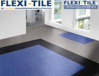 Flexi-Tile Diamond PVC Bodenfliesen - Anwendungsbeispiel mit Blau, Schwarz und Grau