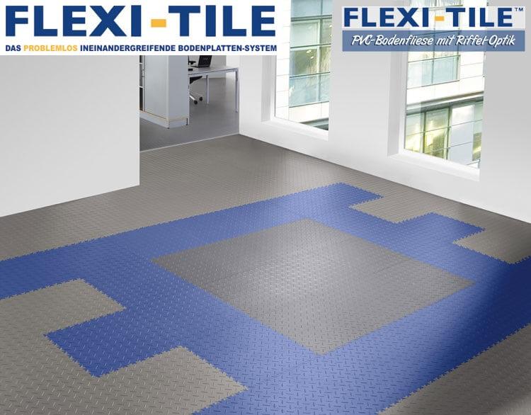flexi tile diamond pvc bodenfliesen anwendungsbeispiel mit blau und grau pvc fu bodenbelag. Black Bedroom Furniture Sets. Home Design Ideas