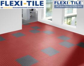 Flexi-Tile Diamond PVC Bodenfliesen - Anwendungsbeispiel mit Rot und Grau