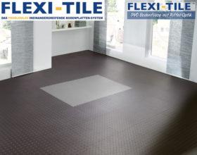 Flexi-Tile Diamond PVC Bodenfliesen - Anwendungsbeispiel mit Schwarz und Grau