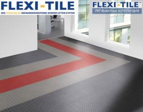 Flexi-Tile Diamond PVC Bodenfliesen - Anwendungsbeispiel mit andersfarbigen Gehweg