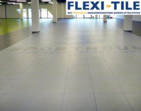 Flexi-Tile PVC Boden Beispielanwendung als Boden im Hallenbereich