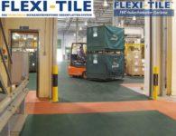 Flexi-Tile PVC Boden Industriebodenbelag - Anwendung mit Gabelstapler