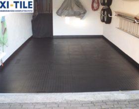 Flexi-Tile PVC Bodenfliesen als Garagenboden - Anwendungsbeispiel Riffel-Optik