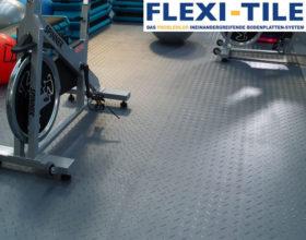 Flexi-Tile PVC Bodenfliesen im Fitnessbereich verlegt