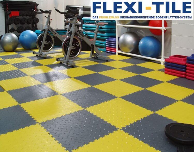 flexi tile anwendungsbeispiel als fitnessboden pvc. Black Bedroom Furniture Sets. Home Design Ideas