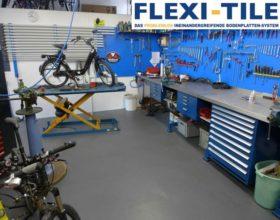 Flexi-Tile PVC-Fliesen als Werkstattboden - Fahrrad-Werkstatt