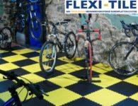 Flexi-Tile PVC Fliesen im Fahrradladen - Ausfu¦êhrung Diamond