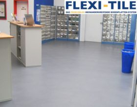 Flexi-Tile PVC-Fliesen im Ladenlokal als Gewerbebodenbelag