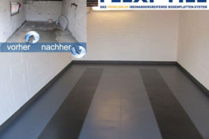 Flexi-Tile PVC Garagenfliesen mit Fahrspur in Schwarz