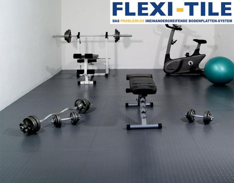 flexi tile anwendungsbeispiel als fitnessboden pvc fu bodenbelag pvc fliesen und industrieboden. Black Bedroom Furniture Sets. Home Design Ideas