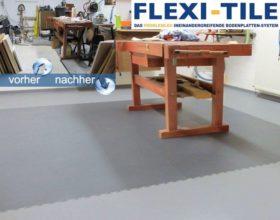 Flexi-Tile als PVC-Fliesen als Werkstattboden