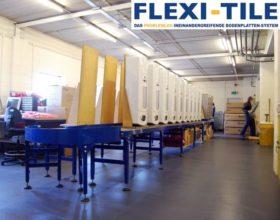 Flexi-Tile als PVC Gewerbeboden Hammerschlag-Optik