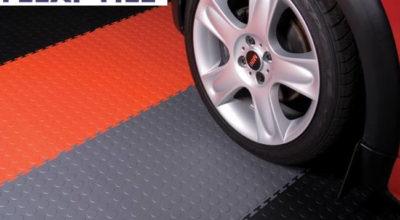 Anwendungsbeispiel Flexi-Tile Genoppte Fliesen als Garagenboden