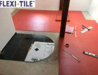 Anwendungsbeispiel Flexi-Tile Genoppte rote Fliesen