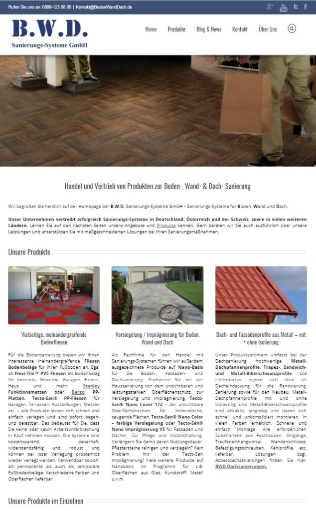 BWD-Firmen-Homepage - www.BodenWandDach.de - Snapshot